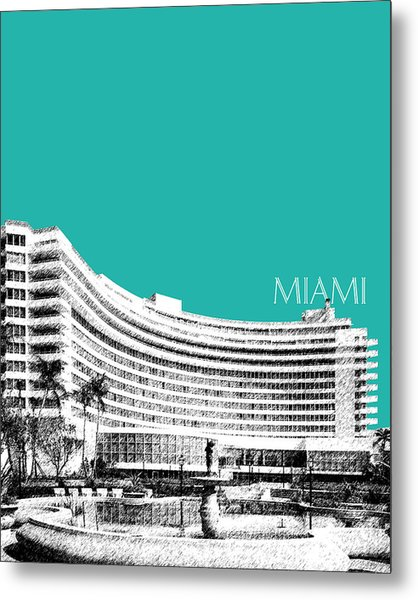 Miami Skyline Fontainebleau Hotel - Teal Metal Print