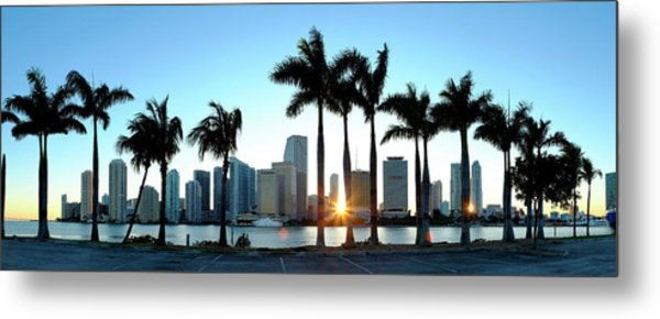Miami Skyline Viewed Over Marina Metal Print