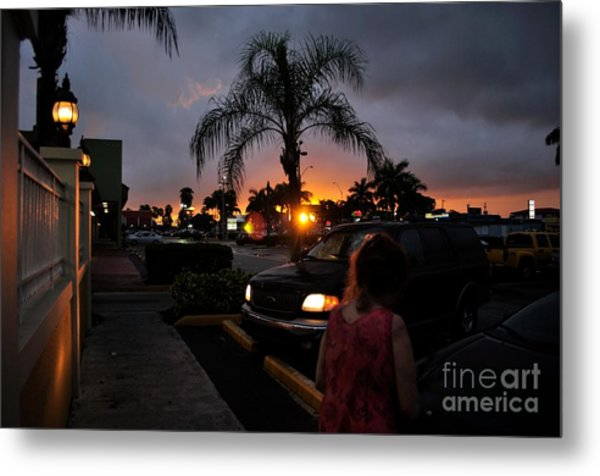 Miami Strip Mall Sunset Metal Print by Andres LaBrada