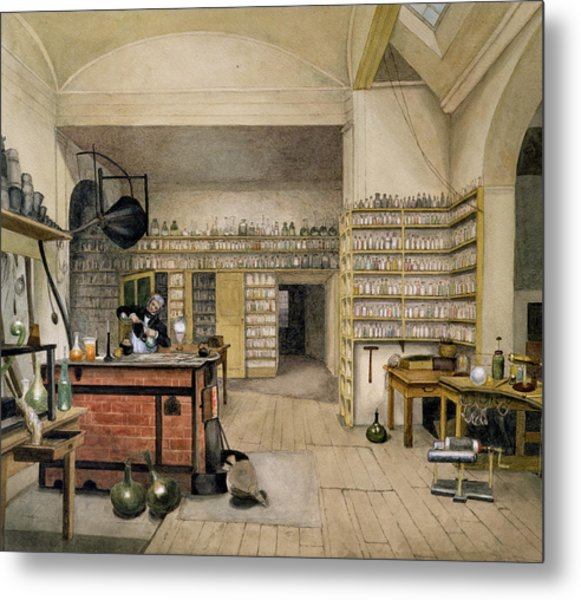 Michael Faraday 1791-1867 In His Basement Laboratory, 1852 Wc On Paper Metal Print