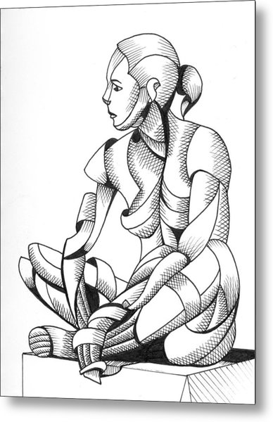 Michaela 24-3 - Abstract Nude Figurative Pen And Ink Drawing Metal Print by Mark Webster