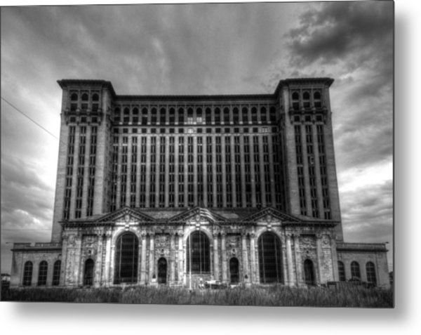 Michigan Central Station Bw Metal Print