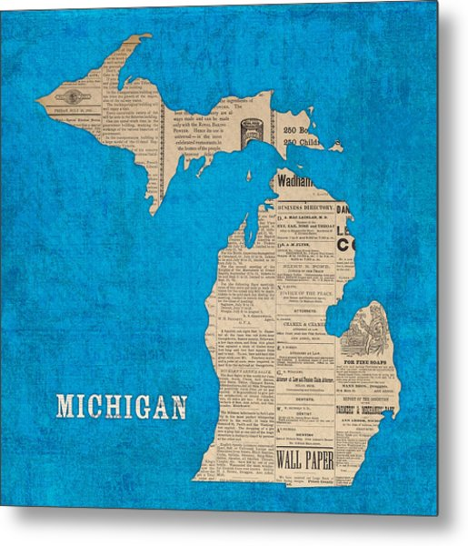 Michigan Map Made Of Vintage Newspaper Clippings On Blue Canvas Metal Print