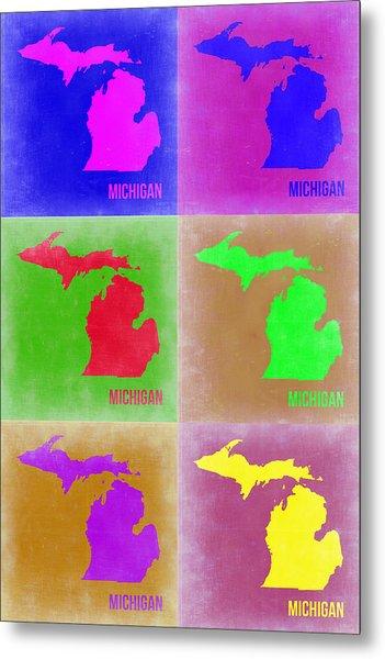 Michigan Pop Art Map 2 Metal Print