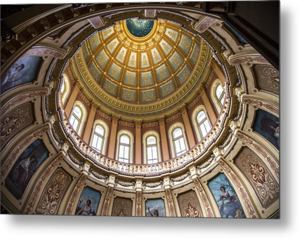 Michigan capitol metal prints and michigan capitol metal art fine michigan state capitol dome in color metal print malvernweather Images