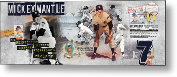 Mickey Mantle Panoramic Metal Print