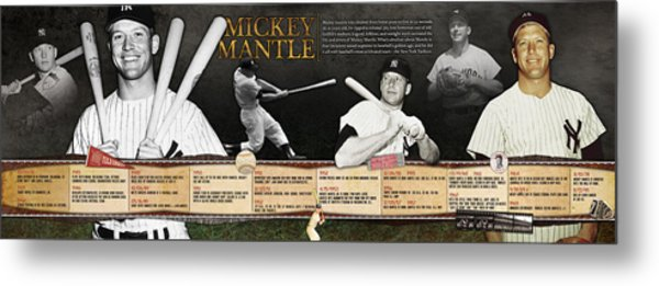 Mickey Mantle Timeline Panoramic Metal Print