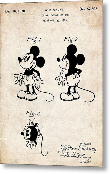 Mickey Mouse Patent Art Metal Print
