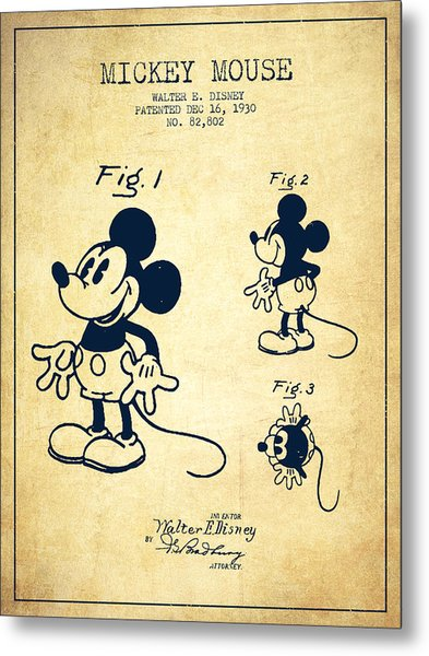 Mickey Mouse Patent Drawing From 1930 - Vintage Metal Print