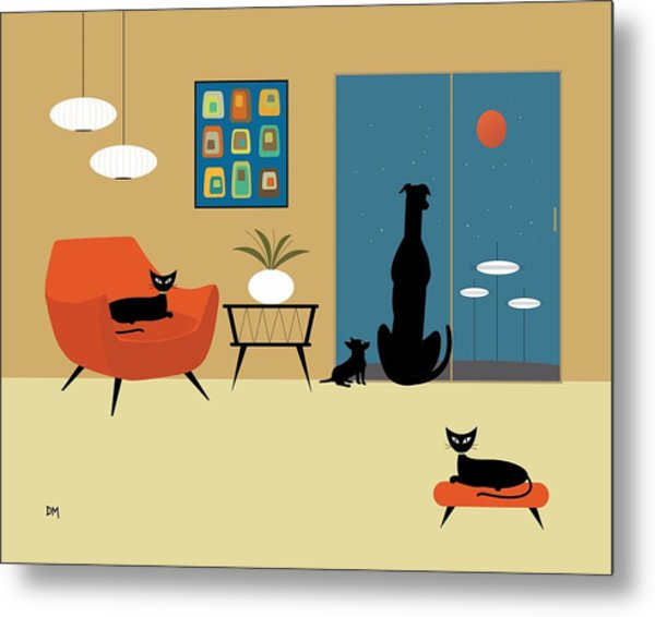 Mid Century Dogs And Cats Metal Print