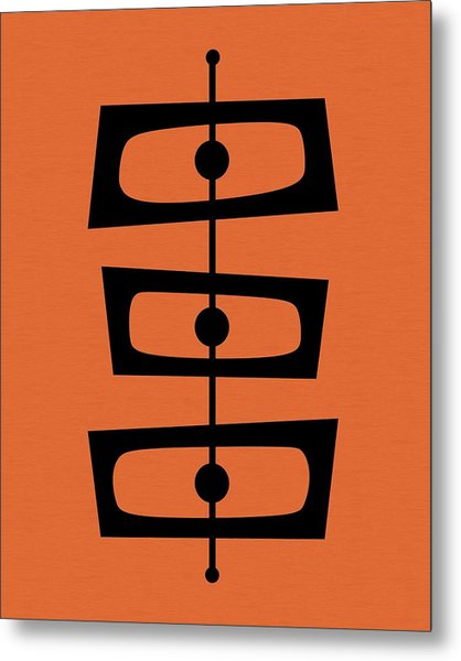 Mid Century Shapes On Orange Metal Print