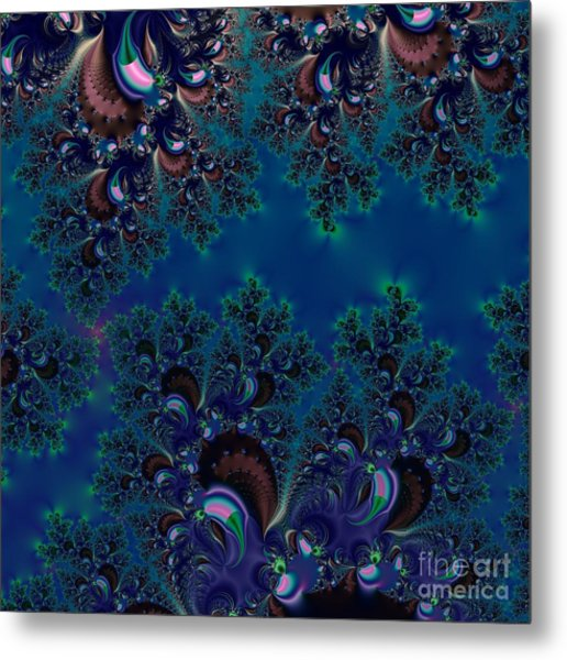 Midnight Blue Frost Crystals Fractal Metal Print