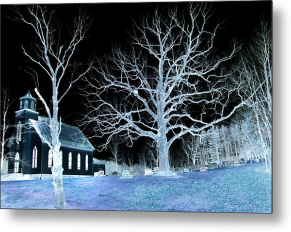 Midnight Country Church Metal Print