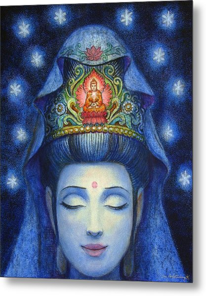 Midnight Meditation Kuan Yin Metal Print