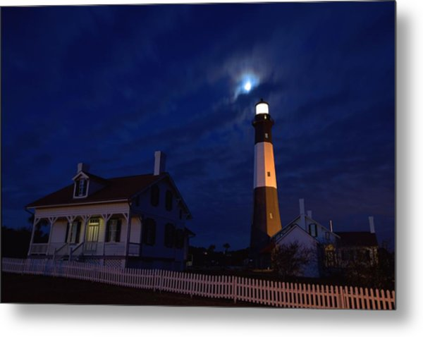 Midnight Moon Over Tybee Island Metal Print