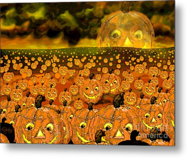 Midnight Pumpkin Patch Metal Print