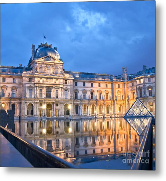 Midnight Reflection At The Louvre Metal Print