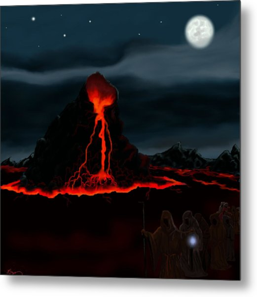 Midnight Volcano Metal Print by Brad Simpson