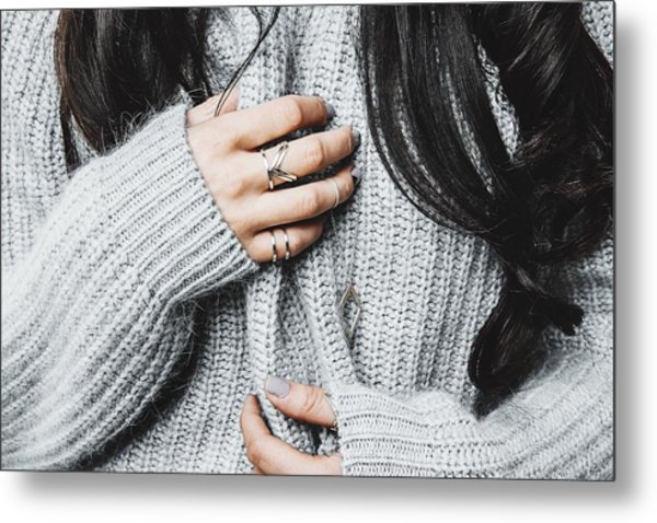 Midsection Of Woman In Warm Clothing Metal Print by Anna Kravtsova / EyeEm
