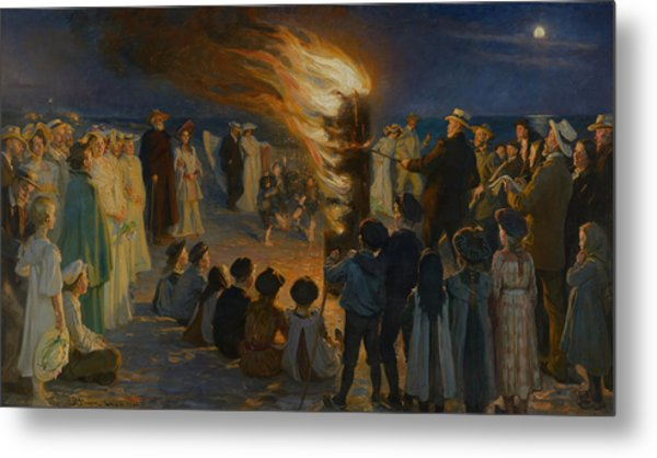 Midsummer Eve Bonfire On Skagen Beach  Metal Print