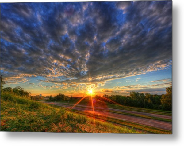 Midwest Sunset After A Storm Metal Print