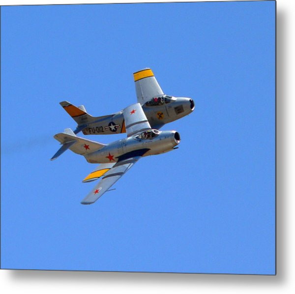 Metal Print featuring the photograph Mig 15 And F86 Sabre by Jeff Lowe