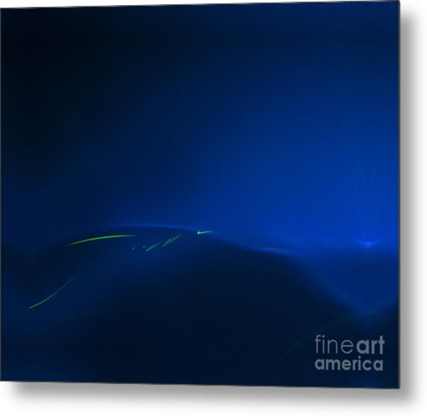 Migration Across The Blue Metal Print