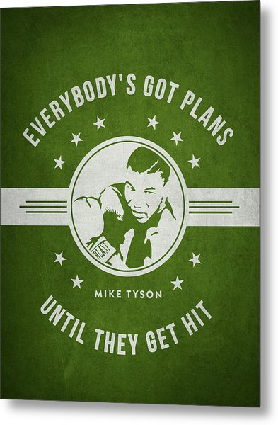 Mike Tyson - Green Metal Print