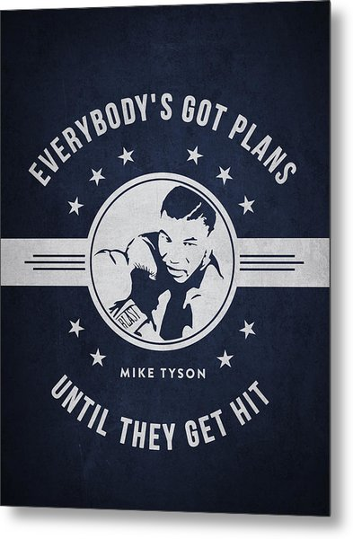 Mike Tyson - Navy Blue Metal Print