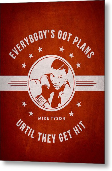 Mike Tyson - Red Metal Print
