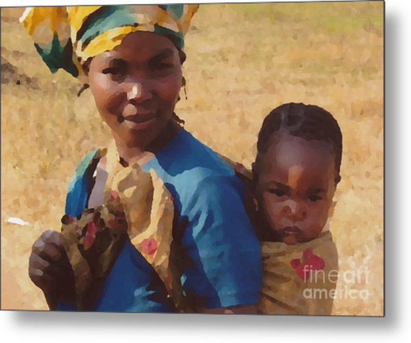 Milawi Mother And Child Metal Print