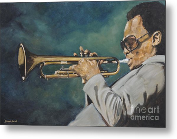 Metal Print featuring the painting Miles Davis - Solo by Dwayne Glapion