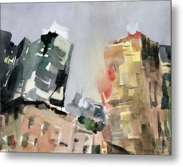 Milford Plaza 8th Avenue Watercolor Painting Of New York Metal Print by Beverly Brown