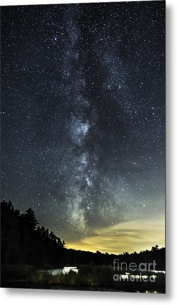Milky Way Over Beaver Pond In Phippsburg Maine 2 Metal Print