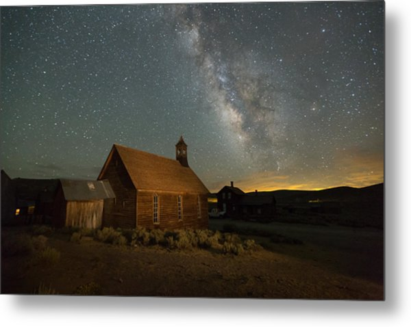 Milky Way Over Bodie Church Metal Print
