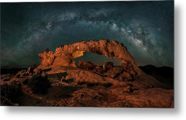 Milky Way Over The Sunset Arch Metal Print