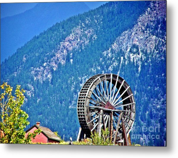 Mill Wheel In The Mountains Metal Print