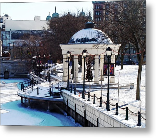 Milwaukee River Walk 3 - Pere Marquette Park - Winter 2013 Metal Print by David Blank