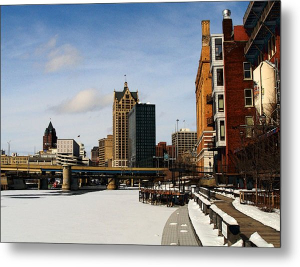 Milwaukee Riverwalk Metal Print by David Blank