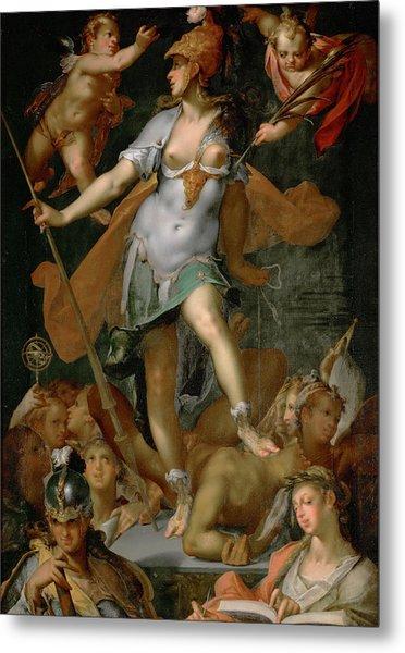 Minerva Victorious Over Ignorance Metal Print