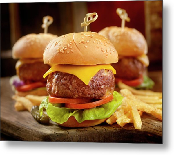 Mini Cheeseburgers With Fries Metal Print by Lauripatterson