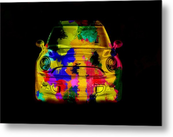 Mini Cooper Colorful Abstract On Black Metal Print