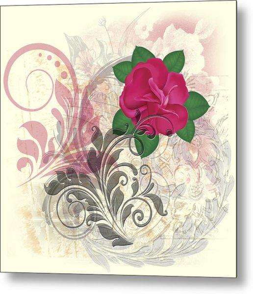 Mini Rose Flourish Metal Print