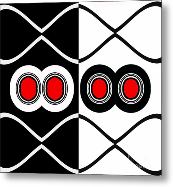 Minimalism Geometric Art Black White Red Abstract Print No.83. Metal Print by Drinka Mercep