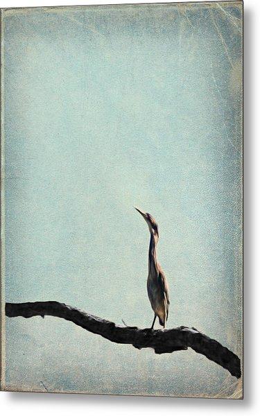 Minimalist Vintage Inspired Green Heron On Pale Blue Sky Metal Print