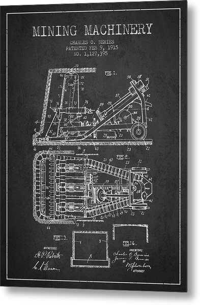 Mining Machinery Patent From 1915- Charcoal Metal Print