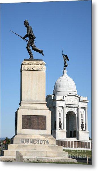Minnesota And Pennsylvania Monuments At Gettysburg Metal Print