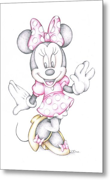 Minnie Mouse Disney Cartoon Colour Pencil Drawing  Metal Print