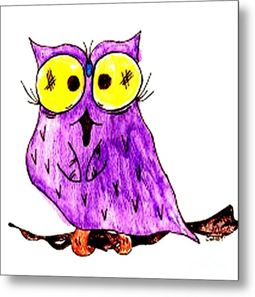 Miss Owl Metal Print by Donna Daugherty