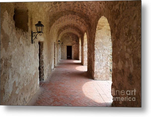 Mission Concepcion Promenade Walkway In San Antonio Missions National Historical Park Texas Metal Print